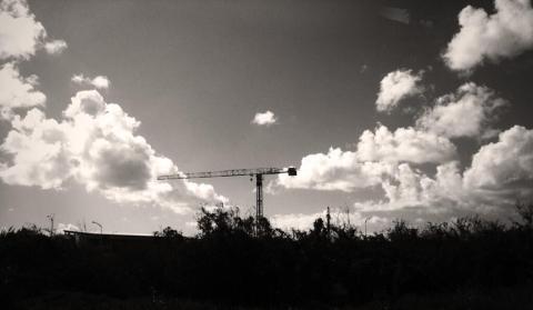 Crane in the sky